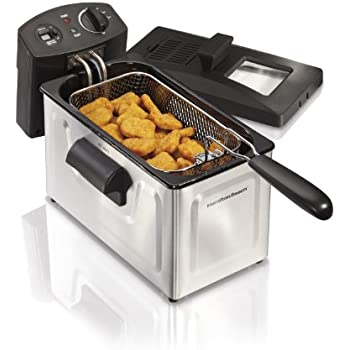 Hamilton Beach Deep Fryer, 12 Cups / 3 Liters Oil Capacity, Frying Basket with Hooks, Lid with View Window, Stainless Steel, Professional Grade, Electric, 1500 Watts (35033)