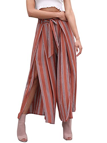 BerryGo Women's Boho High Waist Split Stripe Wide Leg Pants Rust Red Stripe,L