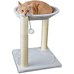 OxGord Paws & Pals Cat Tree House, 16 x 16 x 20-Inches, Multi 2 Level, White with Scratching Post Tower, Hammock Bed And Pet Toy Ball