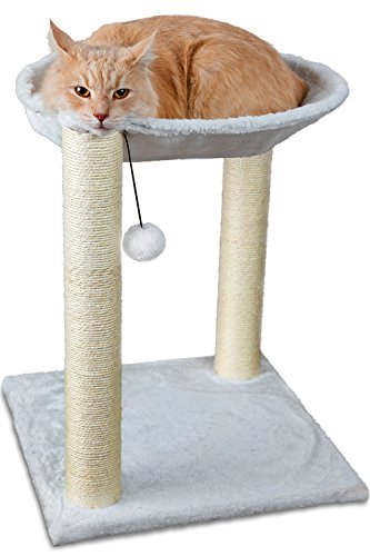 Paws & Pals 3-in-1 Cat Scratching Post w/Hammock & Toy | No-Effort Assembly, Sturdy Pressed-Wood w/Vegan Fur Carpet – Pet Bed Scratch Lounge Furniture Best for Kitten & Large Kitty Cats – Tall, Beige