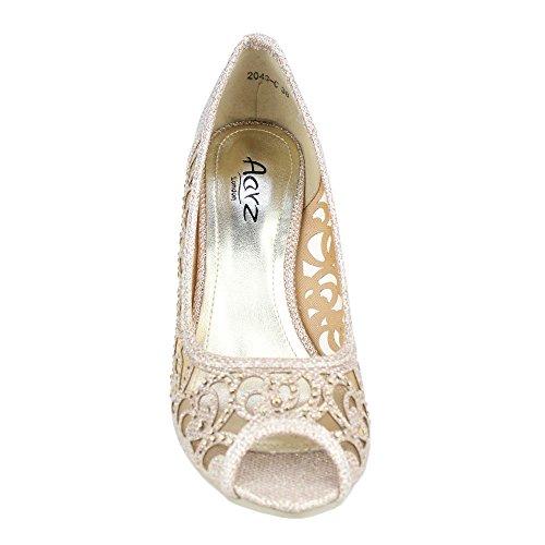 Aarz Boda Prom Mujeres del partido de tarde de las señoras de tacón peep toe Diamante sandalia de los zapatos Tamaño (Oro, Plata, Champagne, Negro, Marrón) Champagne
