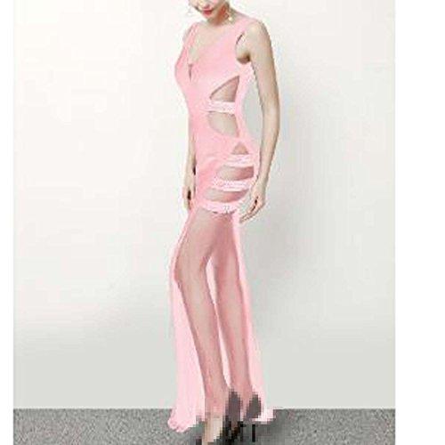 Hilo Pink Temperamento Hueco Vestidos El Luchar Vestido Largo Las Puntas cuello Pescado V Abiertas Stxnq1OTwF