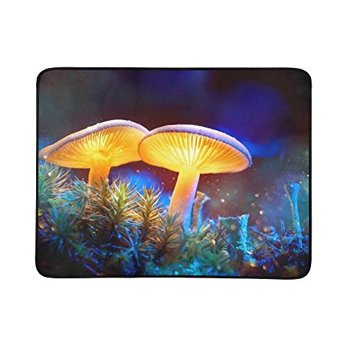 Mushroom Fantasy Glowing Mushrooms Mystery Dark Portable and Foldable Blanket Mat 60x78 Inch Handy Mat for Camping Picnic Beach Indoor Outdoor Travel Blue Glowing Fantasy Mushrooms