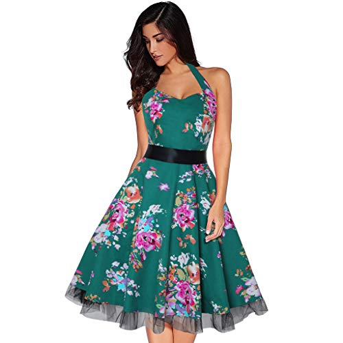 (Zlolia Women's Floral Print Dresses Lady 1950s Midi Skirt Sleeveless Backless Halter Belt Lace Patchwork Swing Dress)