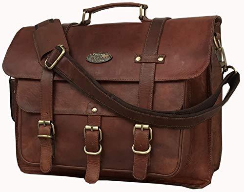 - Messenger Bag Vintage Genuine Leather Briefcase Large Satchel Shoulder Bag Rugged Leather Computer Laptop Bag