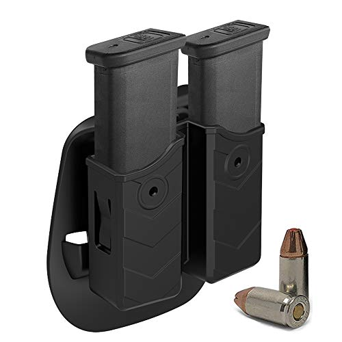HQDA Universal Double Magazine Pouch 9mm .40 Mag Holder Dual Stack Mag Holster Fits Glock 17 19 23 26 43 Duty Belt OWB Handgun Mag Holder for Taurus CZ S&W Sig Sauer Beretta H&K Colt Browning Ruger