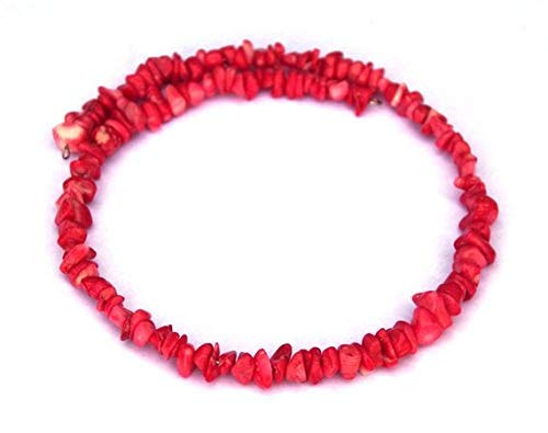 (Pink Coral chip Choker Necklace - Memory Wire Necklace - Gemstones - Natural by Gemswholesale )