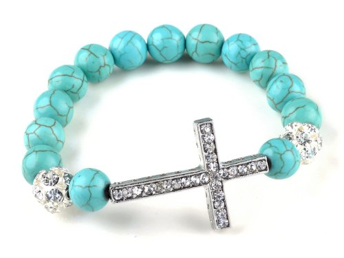 Strand Turquoise Cross - Fashion Jewelry Created-Turquoise Beads sideway cross rhinestones bracelet