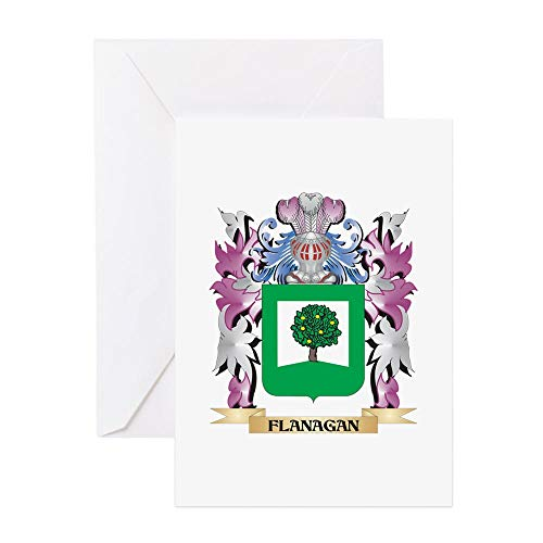 (CafePress Flanagan Coat Of Arms (Family Crest Greeting Cards Greeting Card, Note Card, Birthday Card, Blank Inside Glossy)