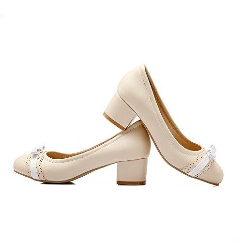 AllhqFashion Damen PU Rund Zehe Ziehen auf Niedriger Absatz Pumps Schuhe Aprikosen Farbe