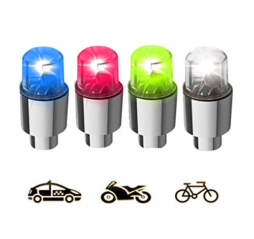 (Gechiqno 4 Pack LED Multi-Color Wheel Lights - Car Bike Wheel Tire Tyre Valve Dust Cap, Safety, Waterproof, Motion Activated, Spoke Flash Lights Car Valve Stems & Caps Accessories)