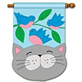 Happy Cat Applique Sculpted Spring House Flag For Sale