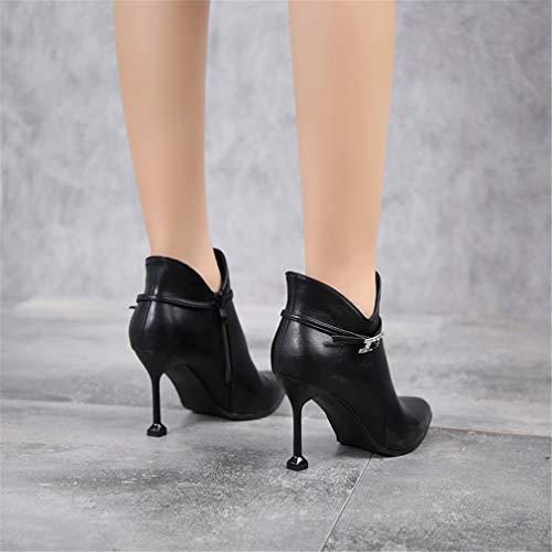 Mujer Delgado Puntiagudos Aguja De Altos Botines Yan Tacones Noche Invierno Negro Diamante Otoño Fiesta Y Para Moda Zapatos Tacón Descubiertas Botas Vestido wIn7Zq4