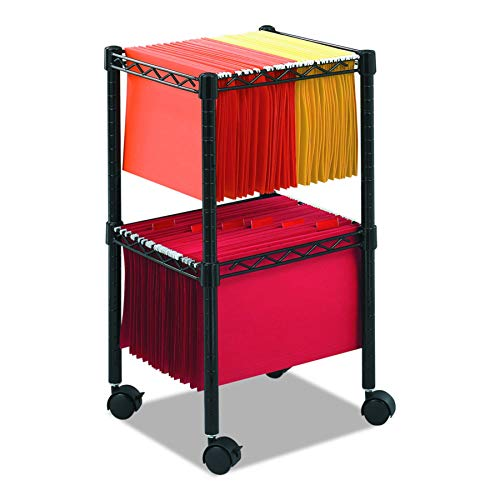 (Safco Products 5221BL Two-Tier Compact File Cart, Letter or Legal Size, Black )