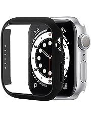 GMUJIAO [2 Pack] Case voor Apple Watch Series 7 45mm,Slim Hard PC Case en Gehard Glas Screen Protector,Overall Beschermhoes Cover-Zwart