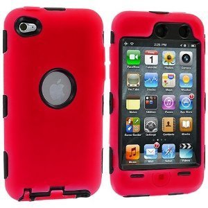 Importer520 (TM) 3-Piece Deluxe Hybrid Premium Rugged Hard Soft Case Skin Cover for Apple iPod Touch 4G, 4th Generation, 4th Gen 8GB / 32GB / 64GB - Red / Black
