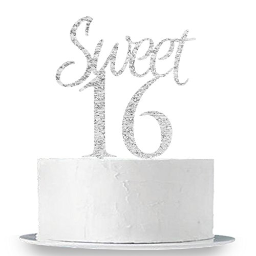 INNORU Silver Sweet 16 Cake Topper - Happy