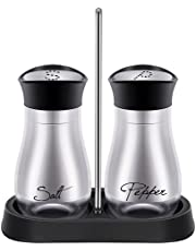 Yantan Salt and Pepper Shakers Set - High Grade Steel with Glass Bottom and 4 inch Stand - 4 inch x 6 inch x 2 inch, 4 Oz.