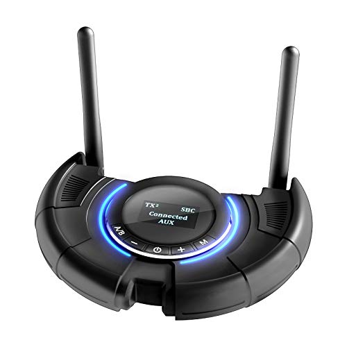 YOVDA aptx HD Long Range Bluetooth Transmitter Receiver, Wireless Audio Adapter APP Remote Control, Dual Antenna Transmission 120M for TV Home Stereo PC