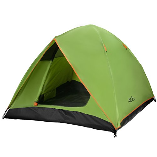 MoKo 2-3 Person Camping Tent, Rainproof Double Layer Family Outdoor Instant Cabin Tent, 4-Season Portable Dome Sun Shelter for Hiking, Backpacking, Trekking, Mountaineering, Beach – Green