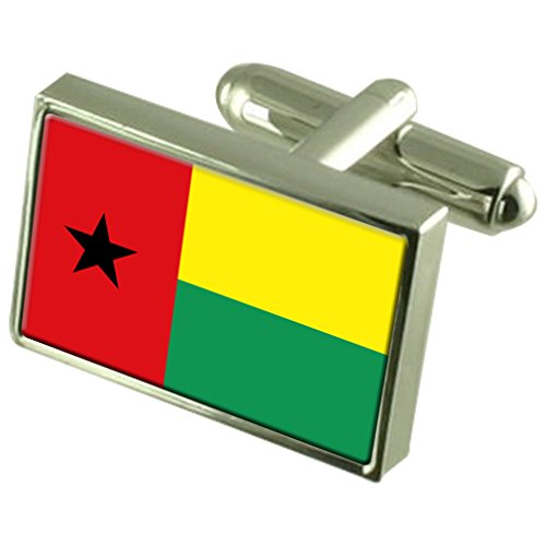 Guinea-Bissau Sterling Silver Flag Cufflinks by Select Gifts