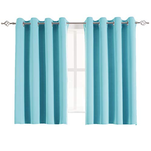 Aquazolax Grommet Blackout Curtains for Kids Room Elegant Blackout Thermal Window Treatment Curtain Panels for Bedroom, 2 Panels, 54 x 45-inch, Turquoise (Light Turquoise Curtains)