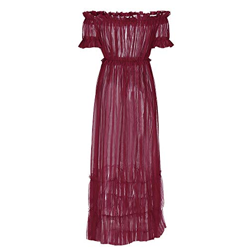 JESPER Women's Sexy Lace Off Shoulder High Wasit Flared Mesh Club Maxi Dress Red by JESPER (Image #2)