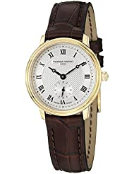 Frederique Constant Slimline Swiss Quartz Stainless Steel and Leather Casual Watch, Color:Brown (Model: FC-235M1S5)