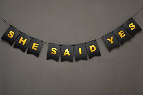 She Said Yes Banner - Bridal Shower Banner - Mi- Bachelorette Party Ideas - Bride To Be - Black And Gold Foiled Card Stock-USA BRAND!! #CARD_BAN_26 ()