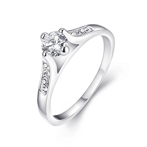 [Eternity Love Women's White Gold Plated Princess Cut CZ Crystal Engagement Rings Best Promise Rings Anniversary Wedding Bands for Lady Girl,] (Homemade Wolf Costumes For Kids)