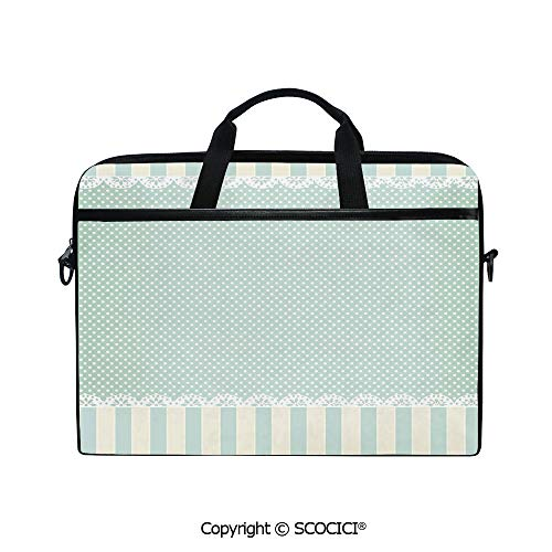 Durable Waterproof Printed Laptop Shoulderr Bag Traditional Old Fashioned Vertical Stripes Ornaments Dots Decorative Computer Briefcases for 15 inch