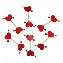 Valentine's Day Cupcake Topper cardstock Color Red 12 pc Pack Decoration