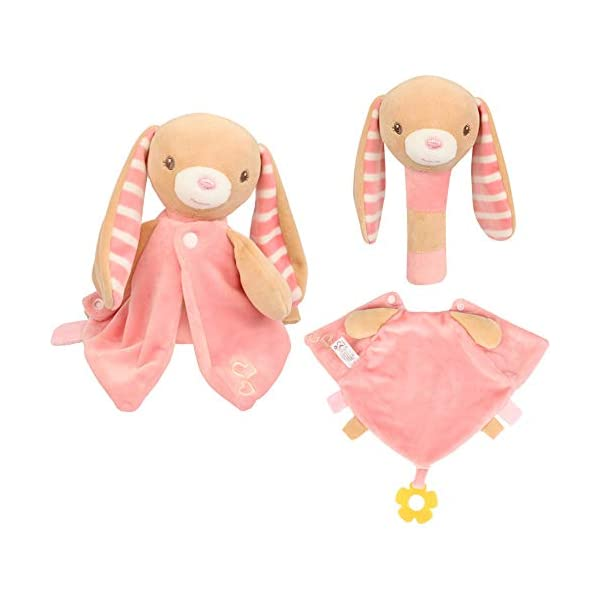 Baby Scurity Blanket – Plush Stuffed Bunny Rattle Toys with Built-in Bells and BB Device,Removable Clothes as Bandana Drool Bibs with Teether