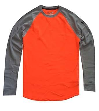 Under Armour Men UA Thermal 2.0 Crew Shirt (M, Blaze Orange/Grey)
