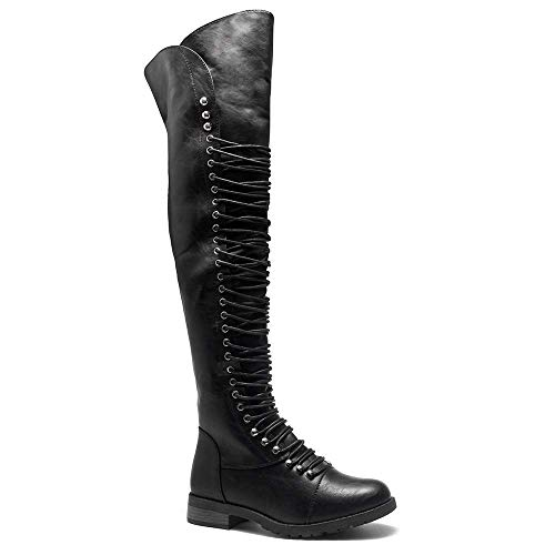 Herstyle Kristrrina Women Military Lace Up Thigh High Combat Boots Black 11.0