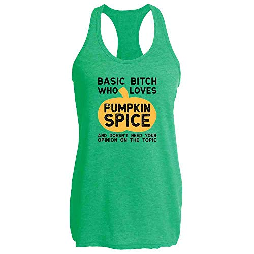 Basic Bitch Who Loves Pumpkin Spice Heather Kelly 2XL Womens Tank Top ()