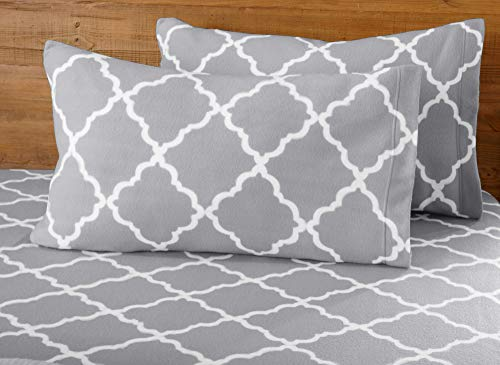 Great Bay Home Super Soft Extra Plush Polar Fleece Sheet Set. Cozy, Warm, Durable, Smooth, Breathable Winter Sheets with Cloud Lattice Pattern. Dara Collection Brand. (Full, Paloma Grey)