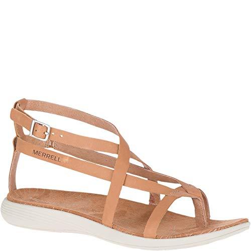 (Merrell Duskair Seaway Thong Leather Women 9 Natural Tan)