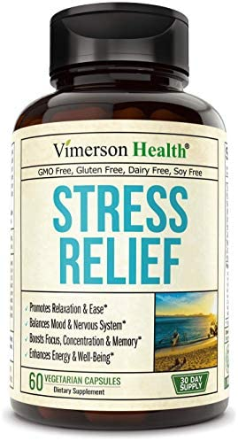 Stress Relief Mood Enhancer Supplement. Relief from Occasional Anxiety, with Biotin, 5-HTP, Valerian, Lutein, Vitamin B1 B2 B5 B6, L-Theanine, St. John s Wort, Ashwagandha, Chamomile. Niacin, GABA.