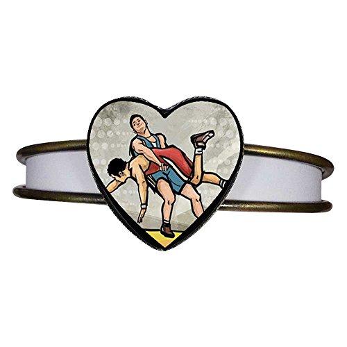 GiftJewelryShop Bronze Retro Style Olympics Wrestling Heart Cuff Bangle Bracelet Fashion Jewelry by GiftJewelryShop