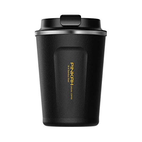 BOBOTEL 13 oz Coffee to Go Cup/Tumbler/Mug,Double Wall Stainless Steel Insulated Vacuum Cup with lids for Travel & to Go Hot/Cold Drinkware Reusable,Black