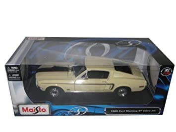 1968 ford mustang cobra jet cj yellow 118 diecast