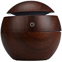 Dacawin LED Aroma Ultrasonic Humidifier USB Essential Oil Diffuser Air Purifier (Brown)