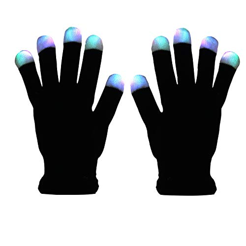 LED Light up Gloves Finger Light Gloves for Kids Adults Glow Rave EDM Gloves Funny Novelty Gifts (Black)]()