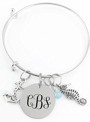 Personalized Bangle -Monogram Initials - Anchor, Seahorse and Crystal - Custom Jewelry (Daughter Anchor)