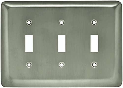 Franklin Brass W10247-SN-C Stamped Round Triple Toggle Switch Wall Plate/Switch Plate/Cover, Satin Nickel