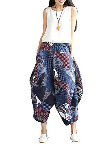 Boho Longue Jambe Pantalon Coton Pantalon Plein Un De Large Loisirs Yoga Pantalons Harem Hippie Lin BESBOMIG Bleu Air qpRwExgZR