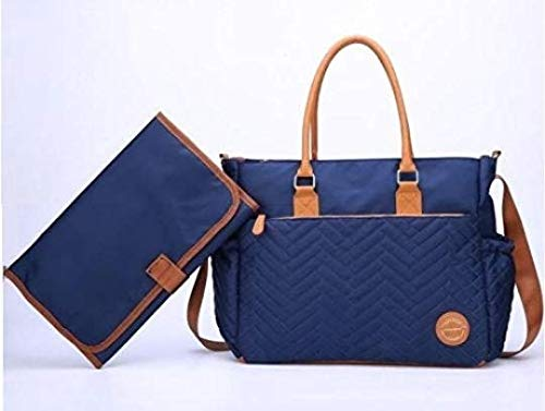 - Large Diaper Bag, Quilted Stylish Diaper Tote by Masoom - Designer Bag for Modern Moms - Large Size with 12 Pockets, All in one Bag for Baby Boy and Girl Needs (Blue with Copper Interior)