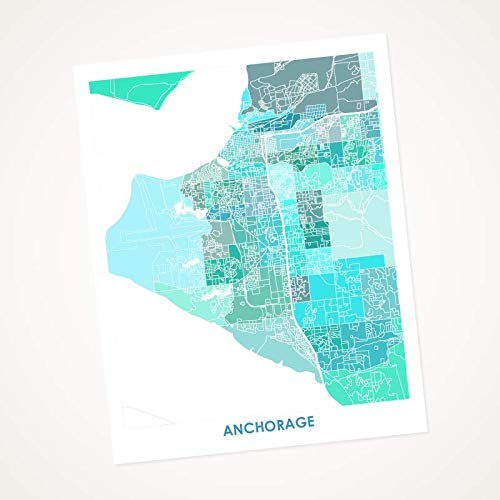 Amazon.com: Anchorage Alaska Map Print. Choose your Colors and Size ...
