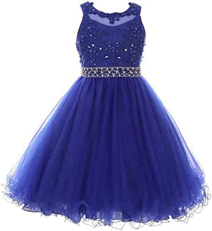 71ea80b2 Big Girls Royal Blue Rhinestone Pearl Beaded Mesh Junior Bridesmaid Dress 8 -16